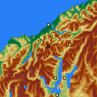 Nearby Forecast Locations - Mt Aspiring NP - Mapa