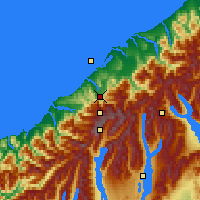 Nearby Forecast Locations - F. Josef Glacier - Mapa