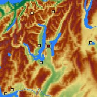 Nearby Forecast Locations - Lago Hawea - Mapa