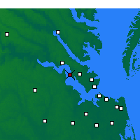 Nearby Forecast Locations - Fort Eustis - Mapa