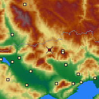 Nearby Forecast Locations - Distrito de Kato Nevrokopi - Mapa