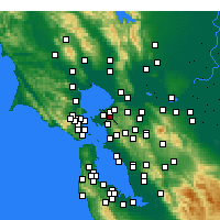 Nearby Forecast Locations - El Sobrante - Mapa