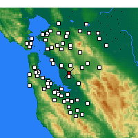 Nearby Forecast Locations - Hayward - Mapa