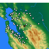 Nearby Forecast Locations - Pleasanton - Mapa