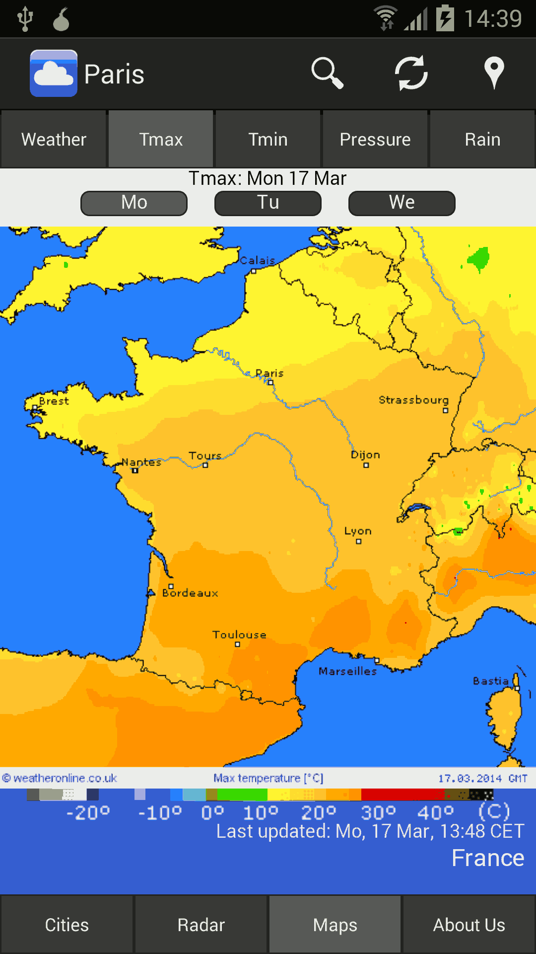 mobile temperature (max) map